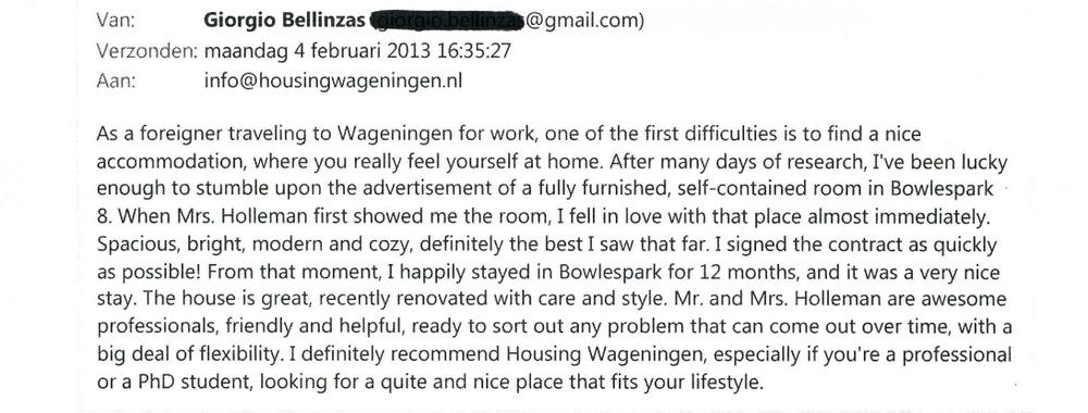 Recommendation Review Giorgio 2012 www.HousingWageningen.nl