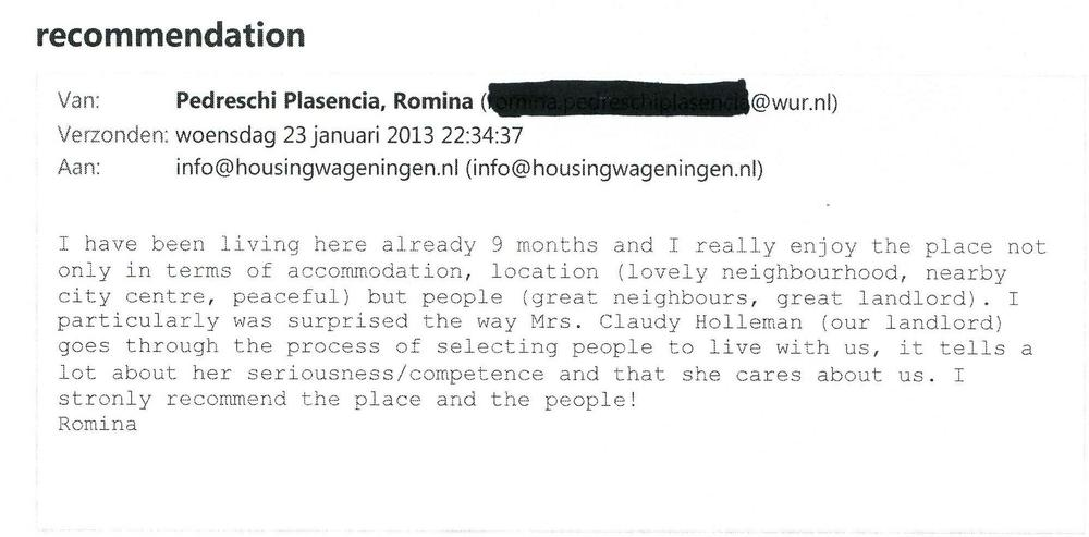 Recommendation Review Romina 2013 www.HousingWageningen.nl