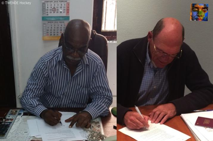 Presidents Abraham Sykes (THA) and Nick Isbouts (TH) signing the cooperation
