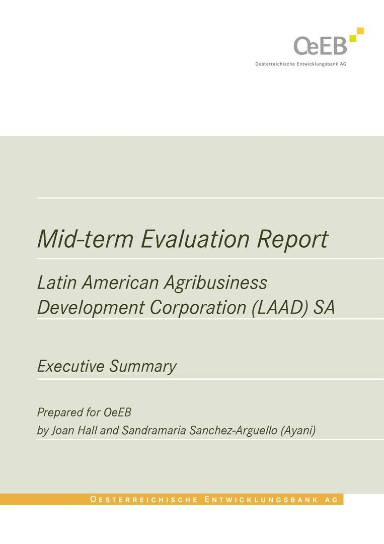 Latin American Agribusiness Development Corporation - Evaluation of Credit Line for Agribusinesses