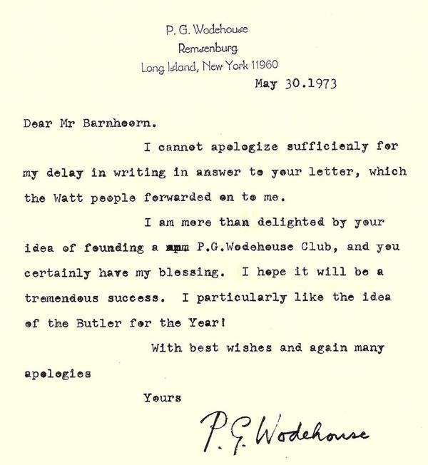 Letter by P.G.Wodehouse dated May 30, 1973, about the first Wodehouse Society worldwide, based in The Netherlands.