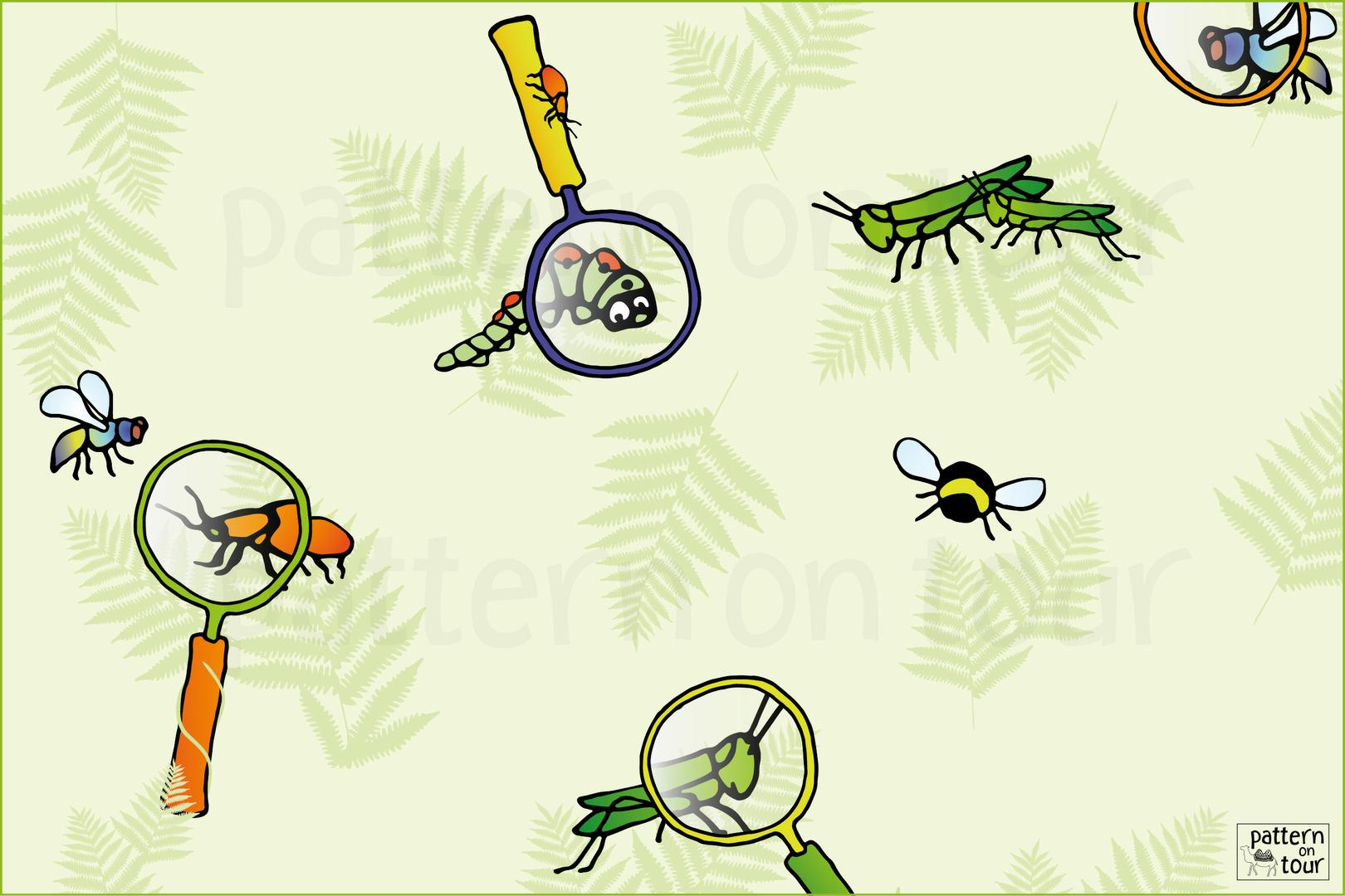 Pattern on tour, dessin, child room patronen, patroon, kinderkamer, wallpaper, behang,  insect, nature