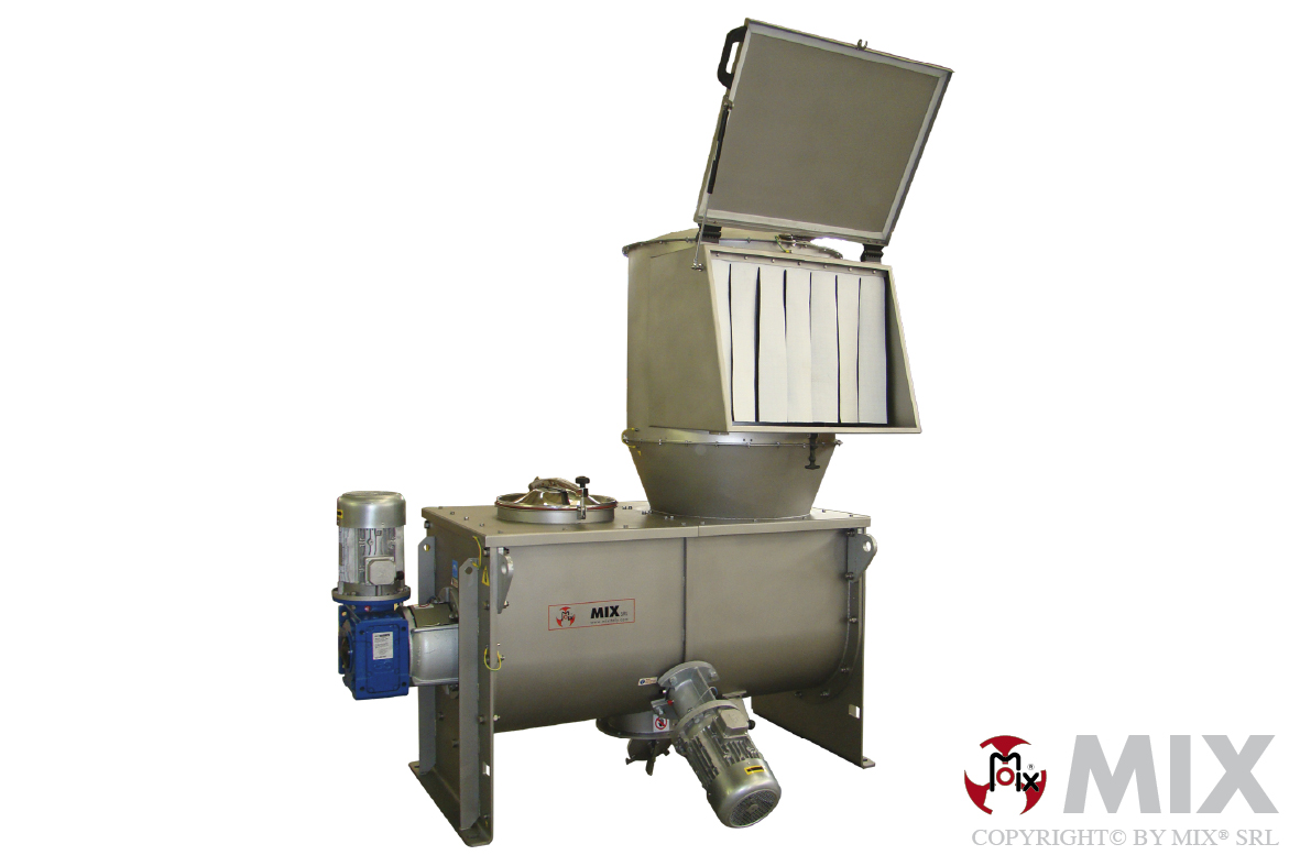 Ribbon shaft mixer with discharge cabinet